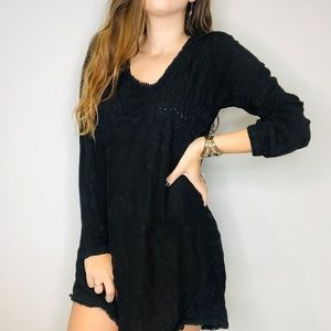 Johnny Was black embroidered long sleeve dress